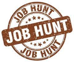 job hunt brown grunge round vintage rubber stamp - stock illustration