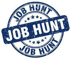 job hunt blue grunge round vintage rubber stamp - stock illustration
