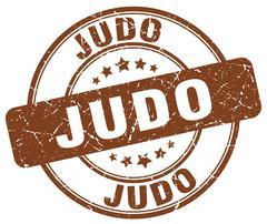 Judo brown grunge round vintage rubber stamp Stock Illustration