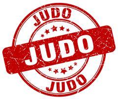 Judo red grunge round vintage rubber stamp Stock Illustration