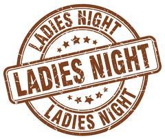 ladies night brown grunge round vintage rubber stamp - stock illustration