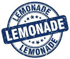 lemonade blue grunge round vintage rubber stamp - stock illustration