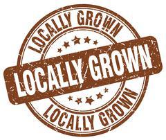 locally grown brown grunge round vintage rubber stamp - stock illustration