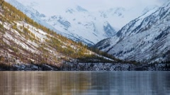 Lower Multinskoe lake in the Altai Mountains Stock Footage