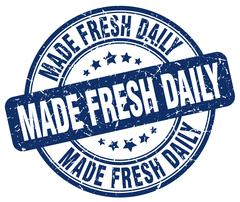 Made fresh daily blue grunge round vintage rubber stamp Stock Illustration