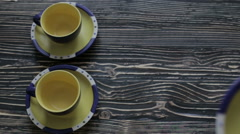 Yellow cup of the service Stock Footage