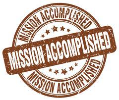 mission accomplished brown grunge round vintage rubber stamp - stock illustration