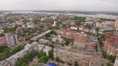 Drone flies over modern houses of Samara city Stock Footage