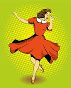 Beautiful woman dancing. Vector illustration in comics retro pop art style - stock illustration