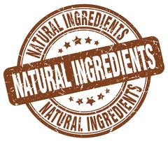 Natural ingredients brown grunge round vintage rubber stamp Stock Illustration