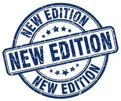 new edition blue grunge round vintage rubber stamp - stock illustration