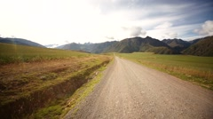 Street in Andean landscape with andes mountains in Peru, South america Stock Footage