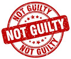 not guilty red grunge round vintage rubber stamp - stock illustration