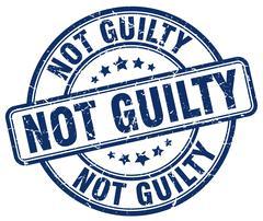 not guilty blue grunge round vintage rubber stamp - stock illustration