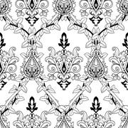 Vintage seamless pattern ivy and fire flower Stock Illustration