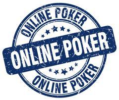 Online poker blue grunge round vintage rubber stamp Piirros
