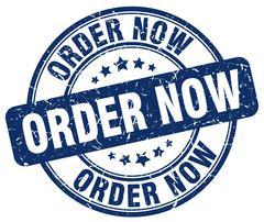 order now blue grunge round vintage rubber stamp - stock illustration
