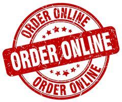 order online red grunge round vintage rubber stamp - stock illustration
