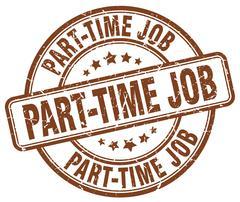 part-time job brown grunge round vintage rubber stamp - stock illustration