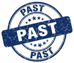 past blue grunge round vintage rubber stamp - stock illustration