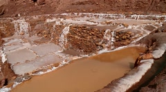Salt evaporation pond, Maras, Peru - stock footage