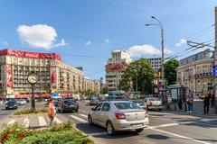 Rush Hour Traffic In Downtown Roman Square (Piata Romana) Of Bucharest City Stock Photos