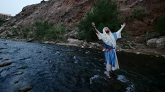 Jew Falls Down in a Water of Sacred River Bathing in a River Worshiper Commits Stock Footage