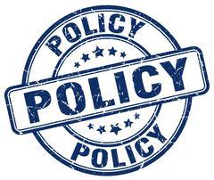 policy blue grunge round vintage rubber stamp - stock illustration