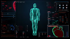 Zooming Human the internal organs, Digestion system in digital display. Stock Footage