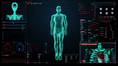 Zooming Human skeletal structure, bone system in digital display user interface. Stock Footage