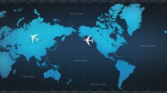 Airplane around world map.tour.1 Stock Footage
