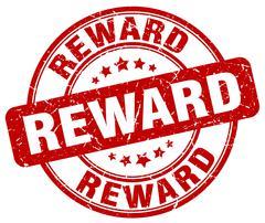 reward red grunge round vintage rubber stamp - stock illustration