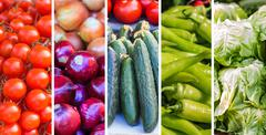 Fresh Vegetable , collage of variety healthy food on the farmers market. - stock photo
