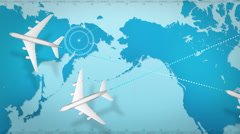 Airplane around world map.tour.2 Stock Footage
