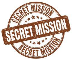 secret mission brown grunge round vintage rubber stamp - stock illustration