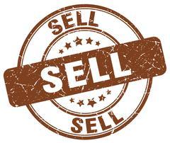 Sell brown grunge round vintage rubber stamp Stock Illustration