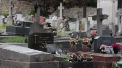 Man Crying On Tombstone In Cemetery Stock Footage