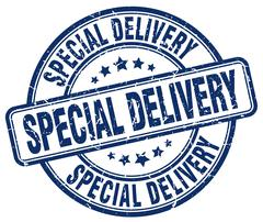 special delivery blue grunge round vintage rubber stamp - stock illustration