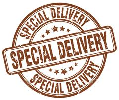 special delivery brown grunge round vintage rubber stamp - stock illustration