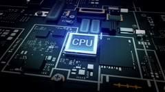 Passes through the web, CPU chip circuit, grow technology. - stock footage
