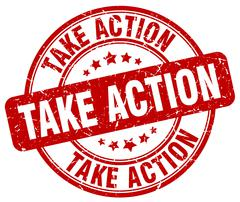 take action red grunge round vintage rubber stamp - stock illustration
