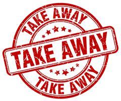 Take away red grunge round vintage rubber stamp Stock Illustration