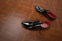formal shoes model in black - stock illustration