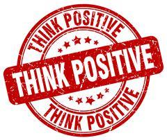 think positive red grunge round vintage rubber stamp - stock illustration