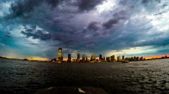 From dusk to night, the skyline of Jersey City, New Jersey, USA - stock footage