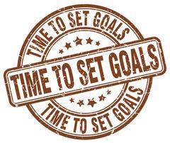 time to set goals brown grunge round vintage rubber stamp - stock illustration