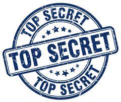top secret blue grunge round vintage rubber stamp - stock illustration