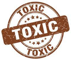 toxic brown grunge round vintage rubber stamp - stock illustration