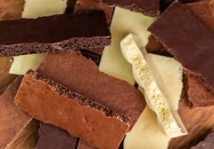 assortment porous chocolate - stock photo