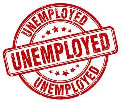 unemployed red grunge round vintage rubber stamp - stock illustration